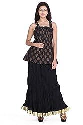 Jaipur kala kendra Women's Casual Printed Black Sleeveless Art Silk Top Tunic JKKCTB1