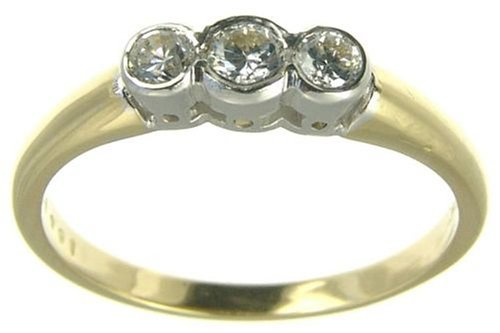 Ladies' Diamond Trilogy Ring, 18 Carat Yellow Gold set with Three Stones, 1/4 Carat Total Diamond Weight
