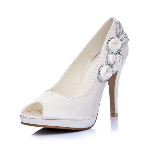Satin Upper Stiletto Heel Peep Toe/ Pumps With Rhinestone/ Satin Flower Wedding Bridal Shoes,Ivory,Size 6.5 US