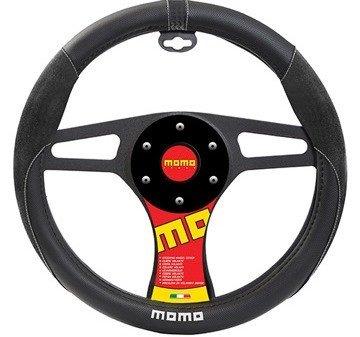 MOMO ITALY SUEDE Steering Wheel Cover Black/Black/White (Italy Steering Wheel Cover compare prices)
