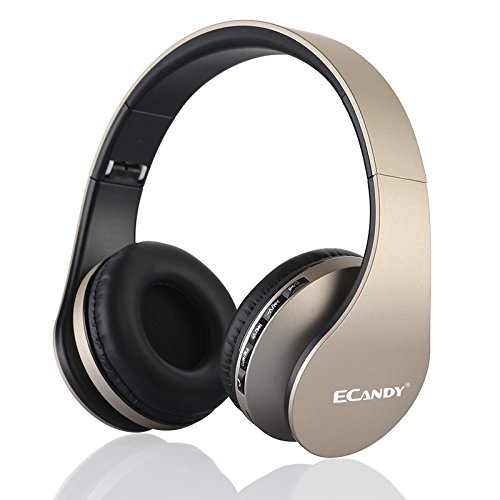Ecandy Bluetooth para auriculares estéreo V4.0 Música plegable Over-oreja sonido de alta fidelidad Calling construido en Mircophone manos libres, inalámbrico de conexión de cable, para Iphone 6S 6S, 6S Plus Samsung, Android Smartphone, tableta, PC, MAC y Laptop (4 en 1) (dorado)