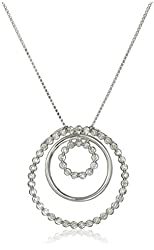 """Sterling Silver Diamond Circle Pendant Necklace (1/4cttw, I-J Color, I2-I3 Clarity), 18"""""""