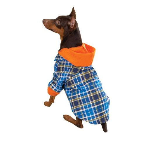866837753bf The Features Zack Zoey The Logger Dog Hoodie Flannel Shirt Blue Medium -