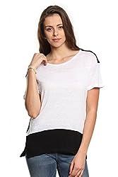 Women White Lyocell Linen Blend T-Shirt