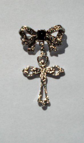 Silvertone Bow-Cross Brooch/pin