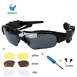 OldShark® Wireless Music Sunglasses with Stereo Handsfree Bluetooth 4.1 Headset Headphone for iPhone4 / 5 / 5S, Samsung Galaxy S3 S4 S5, Note2 / Note3, HTC, LG and All Smart Phones or PC Tablets with Bluetooth Function + Free Replaceable 3 pair lens (Yel
