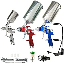 TCP Global® Brand HVLP Spray Gun Set - 3 Sprayguns with Cups, Air Regulator, Stand, & Maintenance Kit for all Auto Paint, Primer, Topcoat & Touch-Up, One Year Warranty