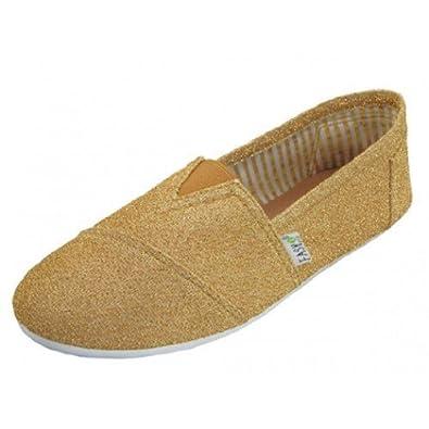 Womens Canvas Metallic Glitter Slip on Shoes Flats (5, Gold 307l)