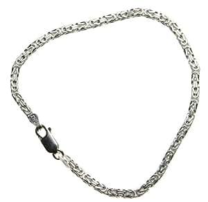 Sterling Silver Italian BYZANTINE Chain Bracelet, 2.6mm Silver finish Nickel Free, size 18 CM Long