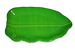 Hua You 14 inch Banana Leaf Shape South Indian Dinner Lunch Serving Melamine Platter Plate Tray For All Occasions - 1 Pcs