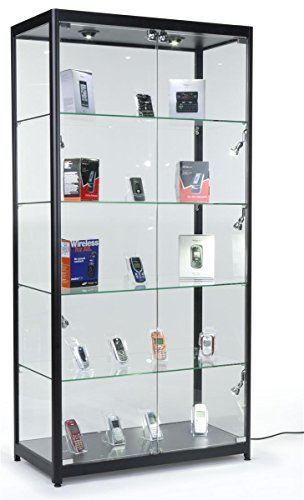 Tempered Glass Curio Cabinet With 8 Halogen Lights, 78 x 40 x 16.5-Inch, Free-Standing, Locking Hinged Doors, Floor Levelers And 4 Green Edge Glass Shelves - Black, Aluminum (Tempered Glass Cabinet Doors compare prices)