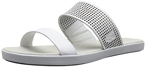 Lacoste Women's Natoy Slide Flat Sandal, White, 7 M US