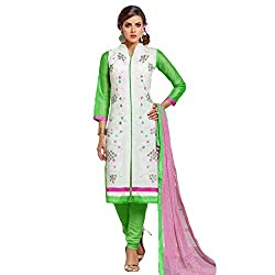 Udantya Women's Chanderi Embroidered Salwar Suit Unstitched Dress Materials (White)