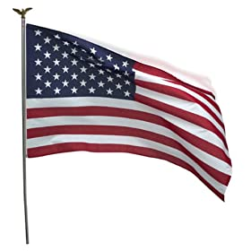 Valley Forge 3-Foot x 5-Foot Polycotton U.S. Flag With 6-Foot Steel Pole & Steel Bracket Kit