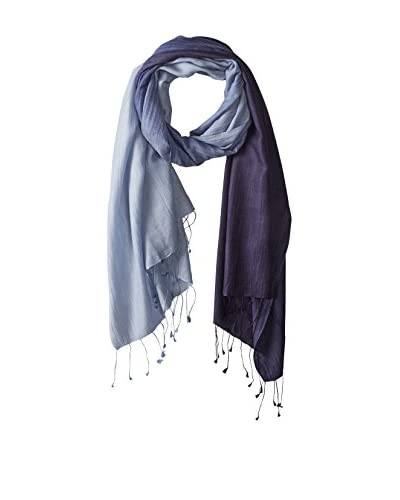 Saachi Women's Cashmere Ombre Scarf, Navy/Grey Ombre