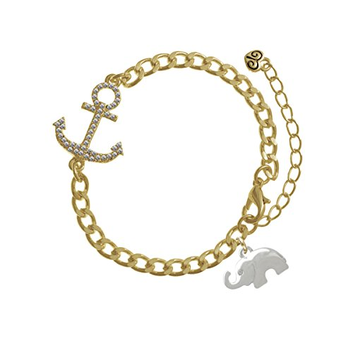 Silver Elephant with Crystal Eyes Gold Crystal Anchor Bracelet