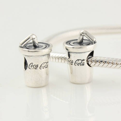 925 Sterling Silver Coca Cola Cup Charms/beads for Pandora, Biagi, Chamilia, Troll and More Bracelet