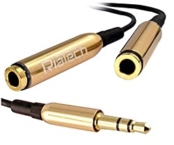RiaTech New High Quality Universal 3.5mm Jack 1 Male to 2 Female Stereo Earphone Headphone Y Splitter Audio Adapter Extension Cable (Golden/Black)