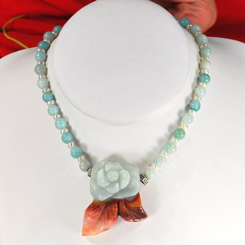Natural Blue Amazonite Carved Rose Pendant Sterling Silver Necklace N2_0130_25