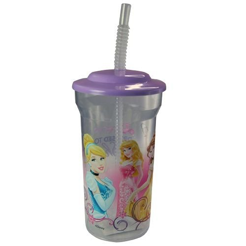 WeGlow International Disney Princess Sports Tumbler with Lid and Straw (Set of 2), 16-Ounce - 1