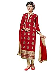 Craftliva Red Embroidery Chanderi Cotton Dress Material