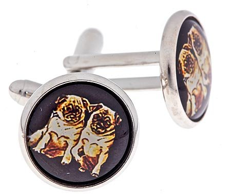 JJ Weston silver plated cufflinks with an image of 2 pug or pugs dogs with presentation box. Made in the U.S.A