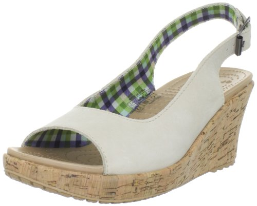 Crocs Women's A-Leigh Leather Stucco Wedges 11848-160-460 6 UK