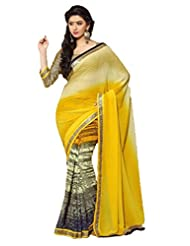 AG Lifestyle Yellow Faux Georgette & Jacquard Pallu Saree With Unstitched Blouse ELG8021