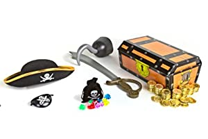 Toy World® 8 Piece Pirate Set This Set Includes 144 Gold Pirate Coins. 1 Cute Little Drawstring Pirate Bag with 12 Big Assorted Jewels. 1 Felt Pirate Hat. 1 Pirate Sword. 1 Pirate Treasure Chest. 1 Plastic Pirate Eye Patch. 1 Plastic Pirate Hook