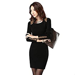 Material: Cotton  Dress Length: Mini-Dress   Dress Silhouette: Shift   Shoulder: Long Sleeves   Neckline: Crew Neck   Skirt: Pencil Skirt  Embellishments: Wrap   Size Category: Adult
