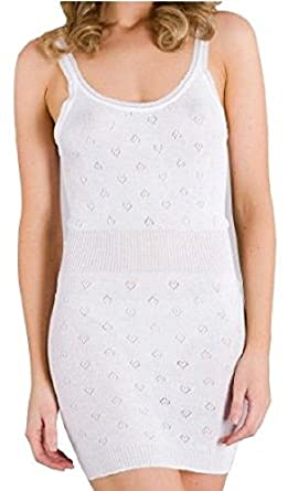 New Ladies White Underwear Camisole Thermal Vest French Neck Extra Long Sizes Medium Large X Large (Medium)