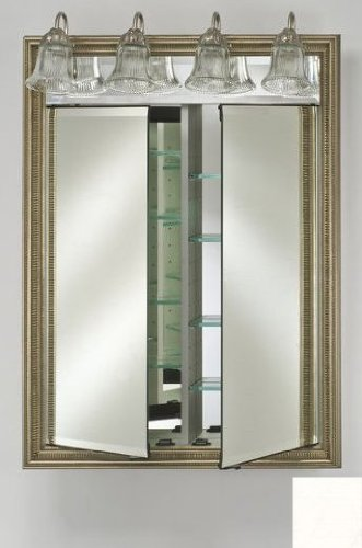 Afina Corporation DD-LT2434RARLWT 24 in.x 34 in.Recessed Double Door Cabinet with Traditional Lights - Arlington White