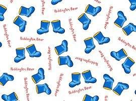 """Paddington Bear Tossed Blue Boots 100% Cotton Fabric (Great for Quilting, Sewing, Craft Projects, Throw Pillows & More) 1/2 Yard X 44"""" Wide"""