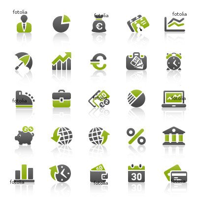 Green & Black Website Icons Wall Decal (12