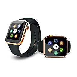 Ottertooth Smart Watch with Heart Rate Monitor, Bluetooth Wristwatch with HD Touch Screen, For iPhone, Samsung galaxy, Nexus, HTC, Sony and Other Android Smartphones - Gold