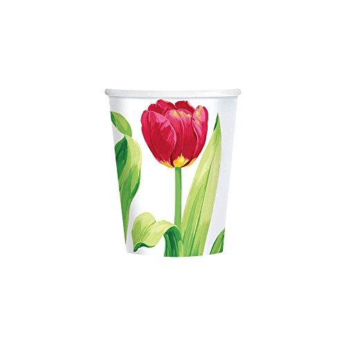 Amscam 8 Count Bright Tulips Cups, 9 oz, Multicolor