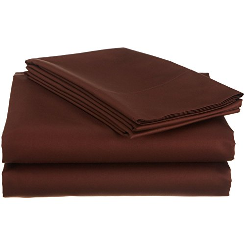 800 Thread Count Brand New 1-Piece Fitted Sheet With 10'' Deep Pocket Queen Size Chocolate Solid Egyptian Cotton!