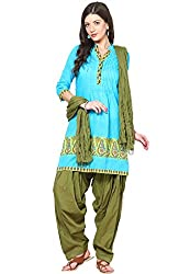 Soundarya Ethnicwear Cotton Free Size Patiala Salwar with Dupatta for Women (PAT12)