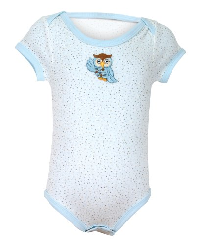 Stephan Baby All-in-One Multi-Dot Diaper Cover with Embroidered Owl, Blue, Newborn