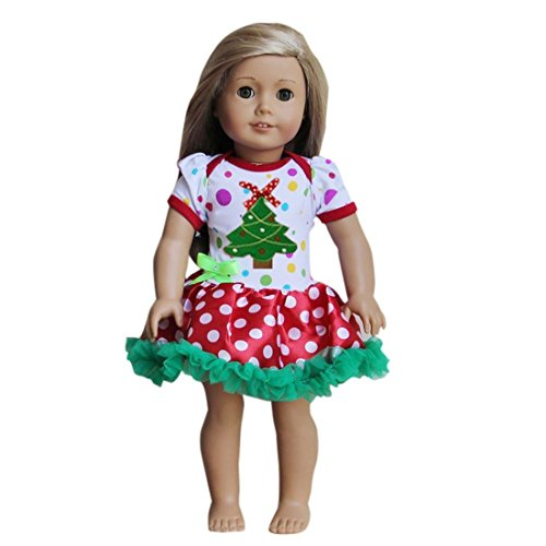 "18"" American Girls Doll Christmas Colorful Red Polka Dots Tree Tutu Party Dress"