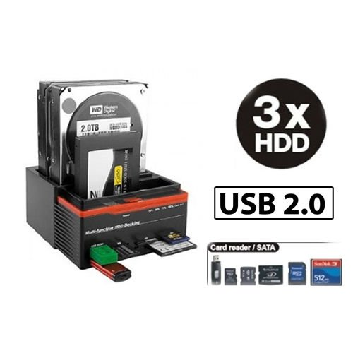 DOCKING STATION TRIPLO 3 HARD DISK USB 2.0 MULTIFUNZIONE CARD SATA IDE