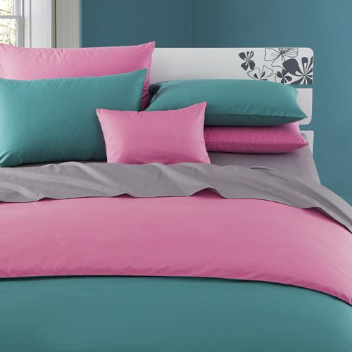 Superb Blue pink Grey Duvet cover Bed in a Bag Solid Color Plain Queen Comforter Cover Bedding