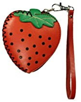 LittleKapsWorld Genuine Leather Strawberry Coin Purse Wristlet - Red