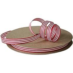 "Cream City Ribbon Red & White Stripe Cotton Curling/Craft Ribbon, 1/2"" x 100 Yards (300 Feet)"