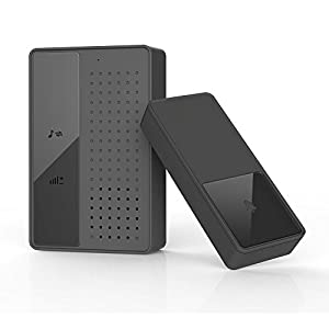 Amoker Portable Wireless Doorbell Kit, 36 Chime Tones, 1050 Ft / 350 M Range 1 Touch Button Operated Transmitter 1 Plug-in Door Chime (Black)