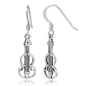 925 Sterling Silver Adorable Open Flat Violin Dangle Hook Earrings 1.3'' Fashion Jewelry for Women - Nickel Free from Chuvora