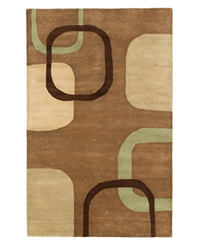 Oak Rugs Hand-Made Eden Wool Rug, Brown, 5' x 8'