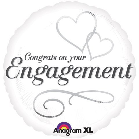 Anagram International 2454801 Two Hearts Engagement Packed Balloon, 18""