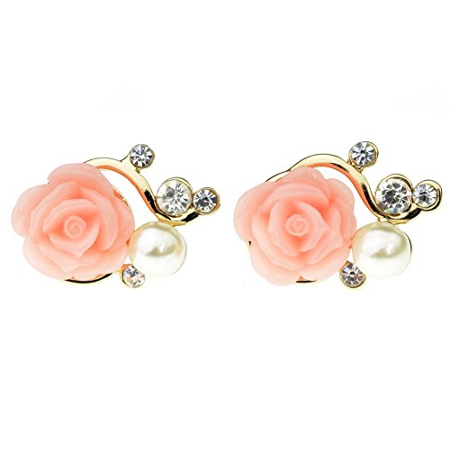 Sealike Korean Cute Rose Rhinestone Pearl Earrings Eardrop Ear Studs for Women Girls with Stylus (Pink)