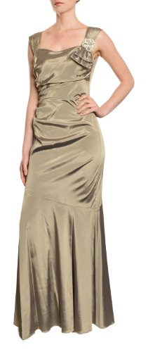 DAVID MEISTER Elegant Light Gold Fit Flare Ruched Long Evening Gown Dress (4)